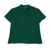 1950s Emerald Green Short Sleeve Vintage Sweater, Self-tie, Size Small