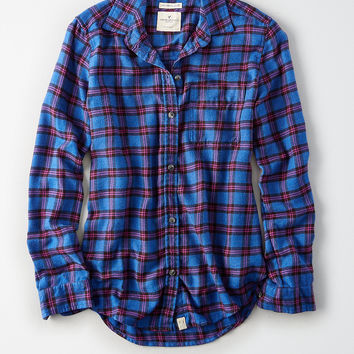 AEO Ahh-Mazingly Soft Plaid Boyfriend Shirt, Blueberry