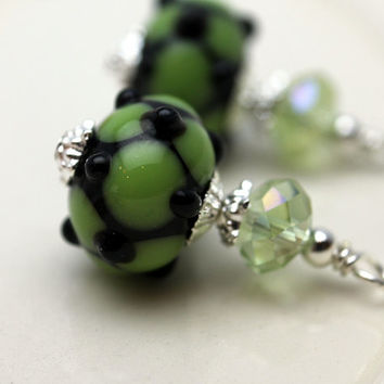 Vintage Style Lampwork Earring Dangle Drop Charm Pendant in Green and Black Web Design with Green Crystals - 2 Pieces