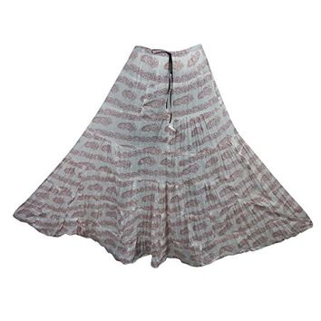 Womens Bohemian Skirt White Printed Broomstick Crinkle Gypsy Flirty Maxi Skirts: Amazon.ca: Clothing & Accessories