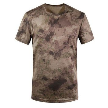 PEAPFS2 New Outdoor Hunting T-shirt Men Breathable Army Tactical Combat T Shirt Military Dry Sport Camo Camp Tees-Ruins Yellow