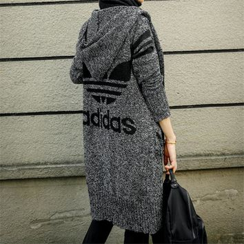 Knitted ADIDAS Hooded Sweater Winter Warm Cardigan Jacket Coat