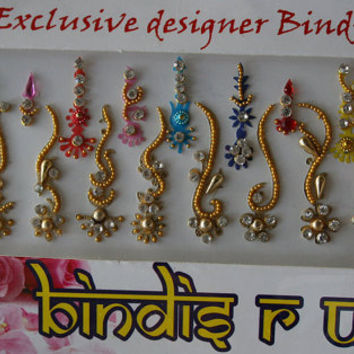 22 Bindi Gold curved in Long BindiS Jewelry Pack Forehead Tika Gems.