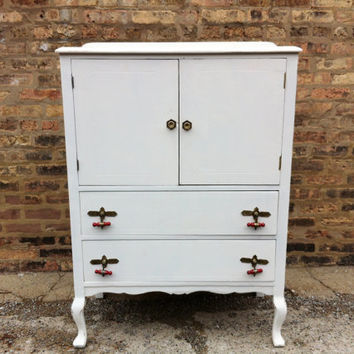 Vintage Chest Of Drawers In White Linen