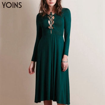 YOINS 2016 New Arrival korean style Women Dresses Lace-up Long Sleeves Dress Sexy V-neck Knee-Length Casual Slim Dress Vestidos