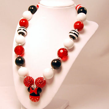 Minnie Mouse Girls Boutique necklace Chunky Beaded Necklace infant and baby necklace red and black
