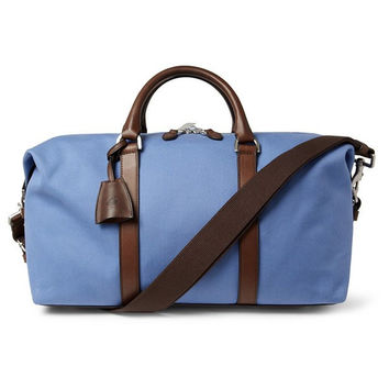 Light Blue and Brown Accented Canvas Bag
