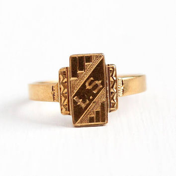Baby Signet Ring - Antique Art Deco 18k Yellow Gold LS Midi - Vintage 1920s Size 2 1/4 Initials Personalize Children's Child Fine Jewelry