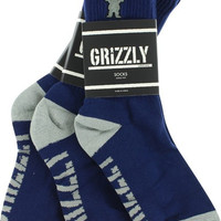Grizzly Og Bear Crew Socks Navy/Grey 3Pr Bundle