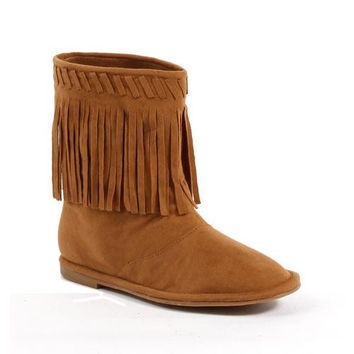 Flat Children's Moccasin Boot with Fringe.