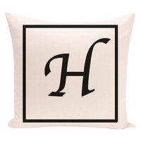 e by design H Geneva Monogram Pillow - Black