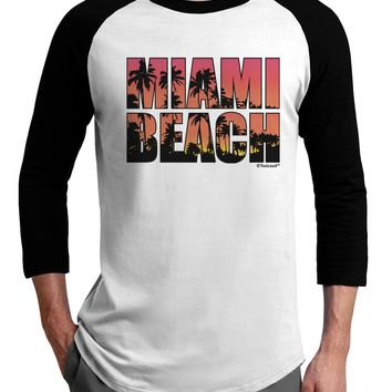 Miami Beach - Sunset Palm Trees Adult Raglan Shirt by TooLoud