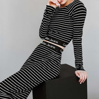 Calvin Klein For UO Striped Long-Sleeve Cropped Top Tube Midi Skirt Set