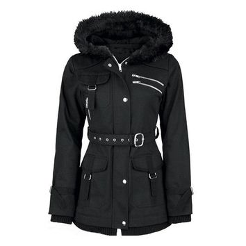 Gothic Coat Vintage Women Black Casual Winter Asymmetirc Hooded Trench Slim Outerwear