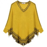 Tassel Poncho Knitting Sweater