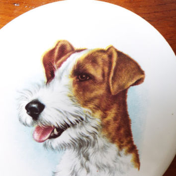 Home Decor/ Animal Art/ Vintage Dog Portrait on Ceramic/ Mounted on Carved Wood Base/ Wall Decor/ Wire Haired Terrier/ Unique Gift under 15
