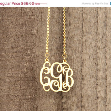 ON SALE Hello February Monogram Necklace -Initials Necklace -Monogram Initials Necklace -Valentines Gift/Bridesmaid Gift - SHIPS in 1-2 Week