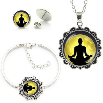 Buddhist Zen Yoga Meditation silhouette om mandala statement necklace earrings bracelet women jewelry sets religion gift HT210
