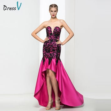 Dressv sexy sweetheart sleeveless Asymmetry lace prom dress modern zipper up sweep train matte satin high low prom dress