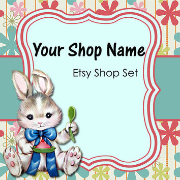 Etsy Banner and Avatar Set for Your Store--Vintage Bunny