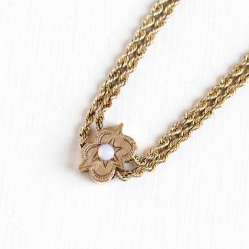 Antique 10k Rosy Yellow Gold Filled Opal Slide Charm Necklace - Victorian Long Fob Pocket Watch Chain Layered Slide Pendant Gemstone Jewelry