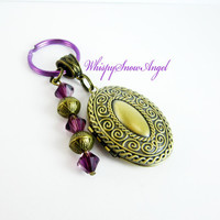 Locket Keychain, Victorian Style, Purple Swarovski Elements, Photo Key Chain, Oval, Bronze