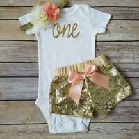 First Birthday Outfit Girl Peach And Gold