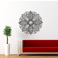 Mandala Wall Decal Namaste Flower Mandala Indian Lotus Yoga Wall Vinyl Decals Sticker Home Interior Wall Decor for Any Room Housewares Mural Design Graphic Bedroom Wall Decal Bathroom (5881)