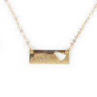 Monogrammed Golden South Carolina Name Plate Necklace | Accessories | Marley Lilly