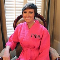 Greek Sorority Monogram Waffle Robe Personalized with Two-Tone Embroidery Gamma Phi Beta