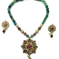 Mogul Chunky Statement Jewelry Fashion Meenakari Necklace Earrings Sets