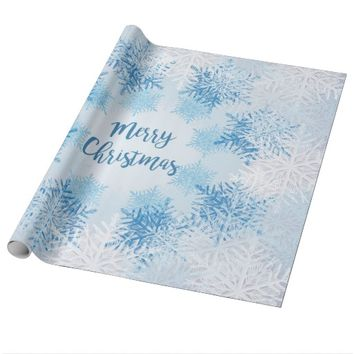 SHOW FLAKES PATTERN Merry Christmas Wrapping Paper