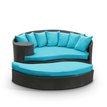 Taiji Outdoor Patio Wicker Daybed Espresso Turquoise EEI-645-EXP-TRQ