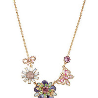 Betsey Johnson Boxed Flower & Butterfly Frontal Statement Necklace