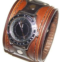 Leather Watch Cuff Brown 2 Inches Wide | EasternOregonLeather - Accessories on ArtFire