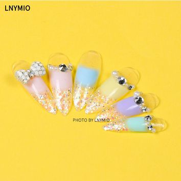 Candy very long decoration fake nails pink yellow blue purple powder nail tips with powder Bow pearl & drill