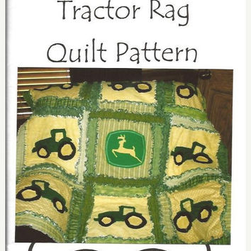 65% Off Clearance Rag Quilt Pattern, Tractor Applique, Sewing, Baby Blanket, Mailed, Hard Copy