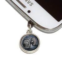 Weight Lifting Dumbbells Mobile Phone Silver Charm