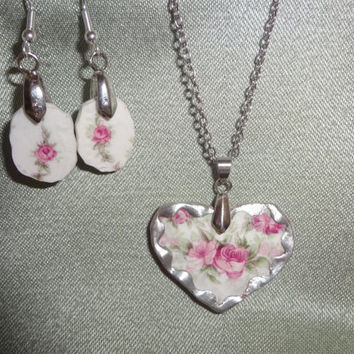 Broken China Jewelry Heart Pendant by farmchicsophisticate on Etsy