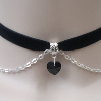 Mini BLACK Crystal Glass Heart With Chain BLACK Velvet Ribbon Choker Necklace - ao... or choose another colour choker/velvet, handmade :)