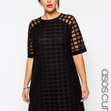 ASOS Curve | ASOS CURVE Exclusive Shift Dress In Cage Mesh at ASOS