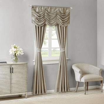Madison Park Giselle Solid Faux Silk 5-piece Curtain Panel Set | Overstock.com Shopping - The Best Deals on Curtains