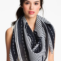 Tory Burch 'Stripe Stacked Logo' Scarf | Nordstrom