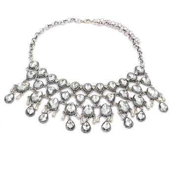 fashion mesh crystal silver necklace