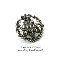 Antique Eton College Floreatus Etona Motto Button Silver Metal Heraldic Badge British Crown Shield Rare Victorian Old Etonian Memorabilia