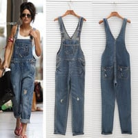 Plus Size 2016 New Denim Jumpsuit Korean Rompers Womens Jumpsuit Overalls For Women Casual Girls Long Jeans Pants Jumpsuit 50