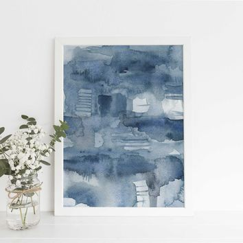 Minimalist Indigo Blue Watercolor Ocean Art Print