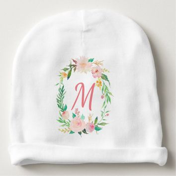 Pink Pastel Watercolor Flower Wreath Baby Beanie