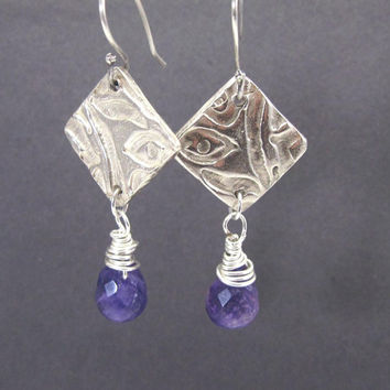 PMC Artisan Made Jewelry - Sterling silver amethyst gemstone earrings - Original Design Jewelry