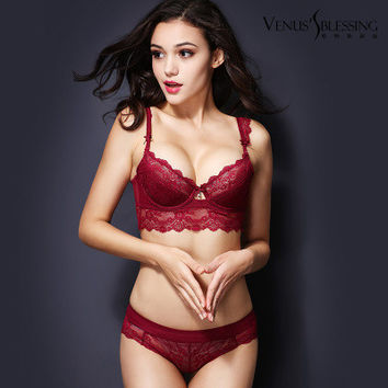 Free shipping 2015 newest summer ultra-thin white lace bra adjustment side gathering push up bra and briefs set